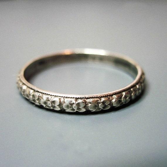 Mens Vintage Art Deco Wedding Band Ring Uncas Sterling