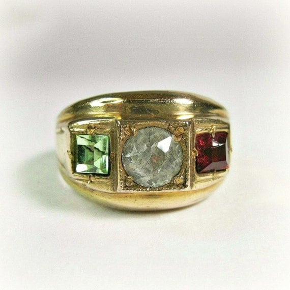 Heavy Vintage Men's Ring - Chunky - Peridot - Ruby - Gold Filled - Size 10 - August Birthstone