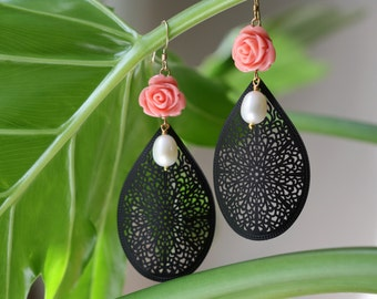 Black Filigree with Roses and White Pearls Large Earrings, Gypsy Style,  Spring Jewelry, Earrings
