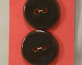 Black Earthenware Buttons, Round
