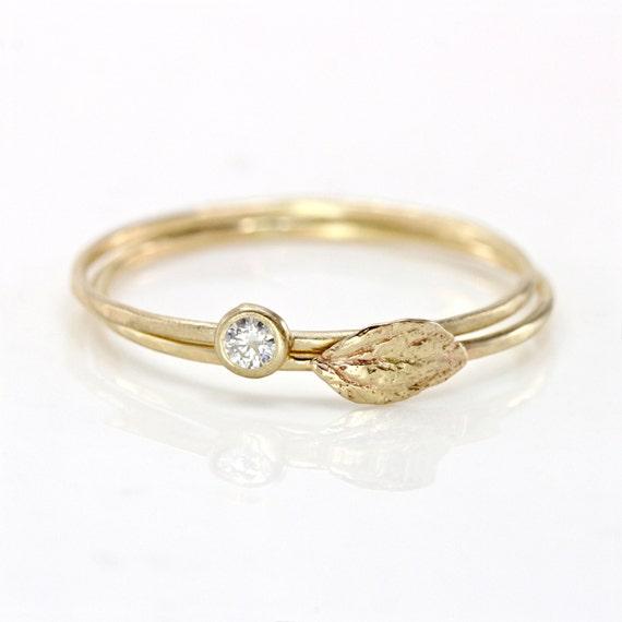 Diamond Leaf Ring In 14k Gold White Diamond By