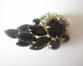 Juliana D and E brooch black AB rhinestone vintage jewelry