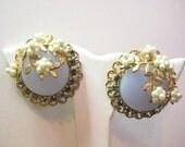 Vintage Moonglow Rhinestone and Faux Pearl Earrings - Book Piece
