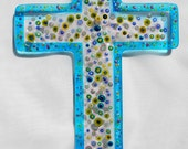 Fused Glass Wall Cross - Turquoise Blue with millefiore