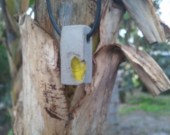 Concrete Jewelry  - Natural gray  recycled yellow glass aggregate urban fossil