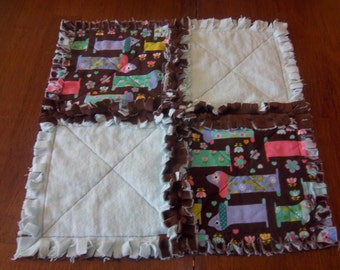 Hot Dogs Mini Security Blanket - Rag Quilt