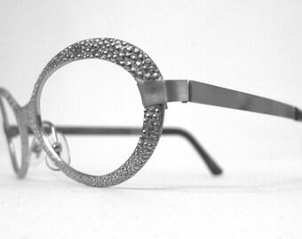 Vintage NOS Mod Metal Silvertone Eyeglasses Frames /  Pebbled. Rocket Girl. Metallic. Shimmer. sale