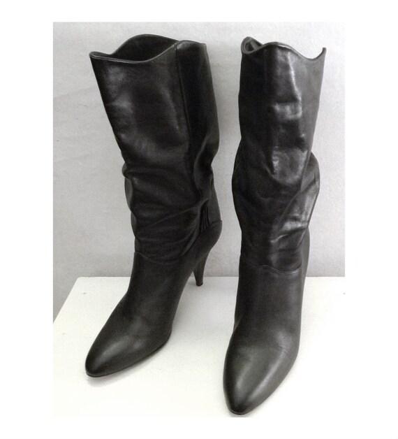 items similar to sale vintage 70s black disco boots