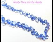 8mm Blue Quartz Faceted Teardrop Beads - Full Strand