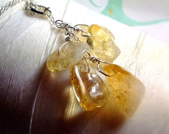 Fruits of Your Labor - citrine necklace / yellow necklace / cluster pendant / yellow pendant / citrine jewelry / November birthstone
