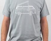 VW campervan (T3 or T25) screenprint t-shirt light grey