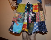 Custom Made MINI Eco Friendly Upcycled Drawstring Patchwork Festival Skirt Small-large short mini