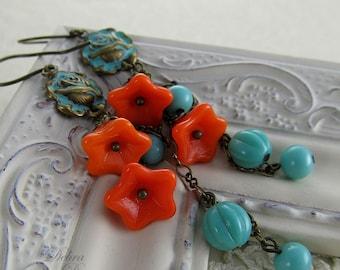 Orange Flower and Turquoise Bead Earrings, Shabby Chic Earrings, Long earrings