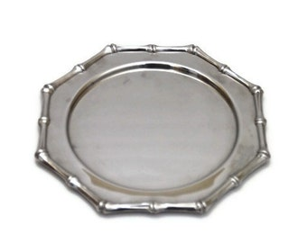 CLEARANCE - Vintage Silver Stainless Steel Bamboo Octagonal Dish Plate