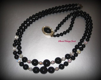 Vintage  Black  & Crystal Bead  Necklace Double Strand Noir Beauty