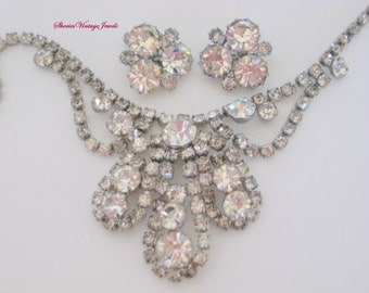 Glitzy Rhinestone  Necklace  Earrings   Old Hollywood Glamour Vintage Jewelry