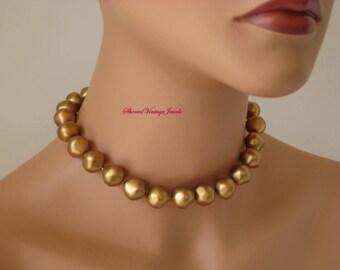 Vintage Laguna Necklace Crown Jewel Line Gold Baroque  Beads