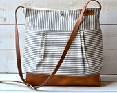 BEST SELLER Diaper bag / Messenger bag Stockholm Gray  geometric nautical striped  Leather / Ikabags Featured on The Martha Stewart F1