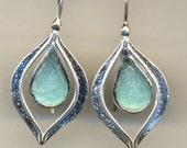 Roman glass earrings. Designer Sterling silver earrings set with roman glass