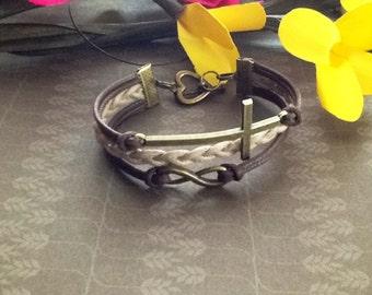 Cross bracelet Sideways cross Infinity bracelet Inspirational jewelry Christian jewelry Friendship bracelet Charm bracelet Best Friend