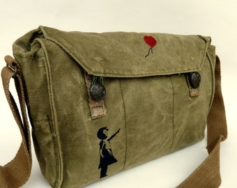 Banksy Girl With Red Balloon on Vintage Canvas Military Messenger Bag Satchel