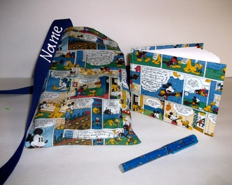 Disney Mickey Mouse COMIC autograph book bag with book, bag and pen and autograph book PERSONALIZED for FREE Adjustable strap