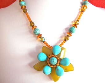 Gemstone flower necklace wire wrapped with green and turquoise gemstone and copper beads