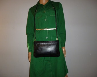 Vintage 80's - Anne Klein for Calderon - Lion's Head - Jet  Black - Leather - Crossbody Bag - or Clutch