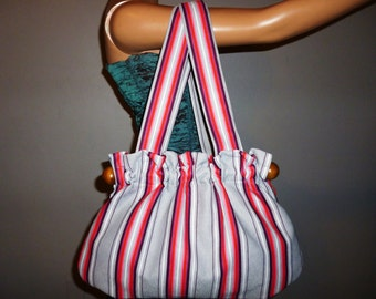 The BOLD and the Beautiful - Vintage 40's or 50's - Pink - Maroon - Grey - Pinstripe - Extra Large - BOLD Stripe - Cloth - Satchel -  Bag