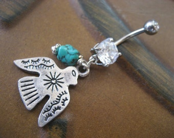 Belly Button Ring Jewelry, Thunderbird Belly Button Ring Jewelry Turquoise Tribal Thunder Bird Eagle Hawk Charm Dangle Navel Piercing