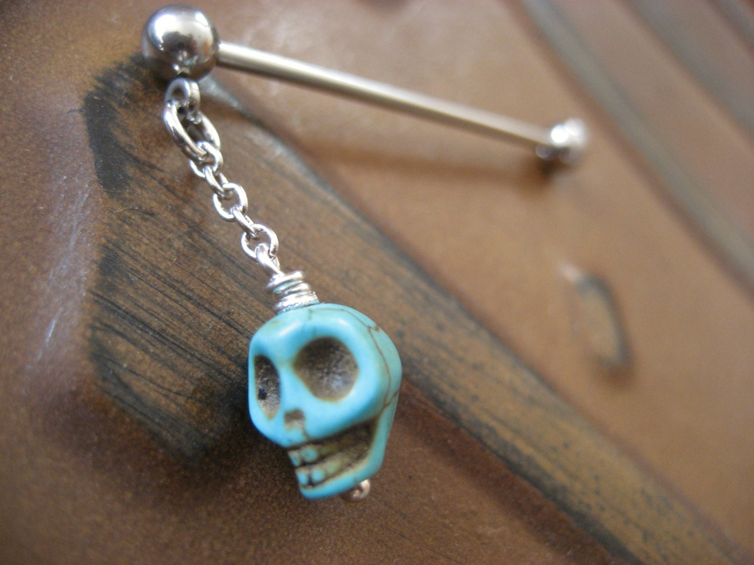 industrial barbell piercing jewelry turquoise blue skull charm