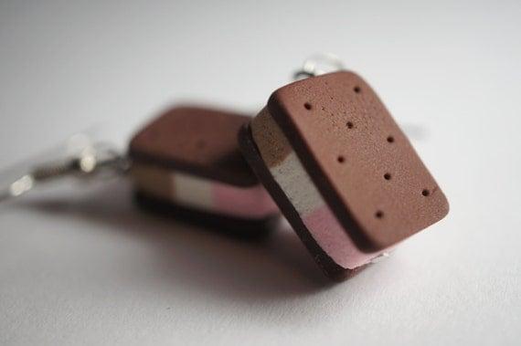 Ice Cream Earrings, Miniature Food Jewelry, Polymer Clay Food Earrings