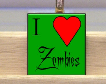 Zombie Scrabble Tile Necklace With Chain