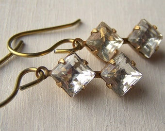 gold niobium earrings vintage double diamond earrings limited edition