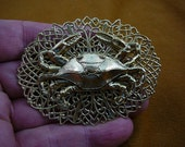 Crab on oval textured filigree scrolled brass pin pendant I love crabs B-CRAB-3