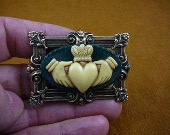 Dark Green Ivory CLADDAGH CAMEO Irish heart crown hand Love handy friendship loyalty Pin Pendant pin pendant BRASS brooch cm38-59