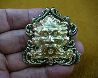 Green man AEOLUS God of Wind nature mask scrolled Victorian repro brass pin pendant B-GM-2