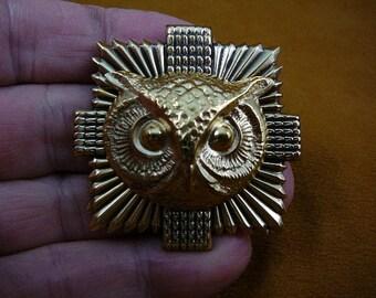 medium Owl head night bird on textured square sunburst brass pin pendant  I love owls lover birds B-Bird-530