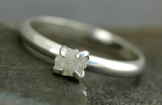 Prong-Set Rough Diamond  Ring in 10k White or Yellow Gold- Size B Diamonds- Conflict free and recycled gold