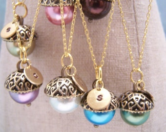 FIVE Personalized Pearl Acorn Necklaces in Your Choice of Colors. Bridesmaid. Friendship. Love. Peter Pan. Wendy. Kiss.Set