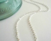 Empty silver chain. Sterling necklace only without pendant. Custom length sterling silver necklace chain. Sterling silver cable chain.