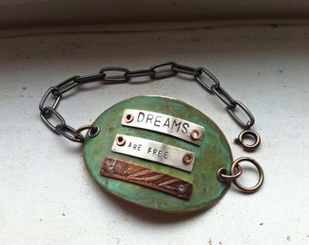 Dreams are Free Mixed Metal Bracelet