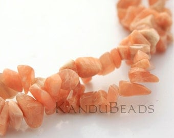 "Peach Moonstone  Small Chip Beads  5-10mm  LONG 34"" strand"