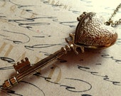 Victorian Heart Locket Key Necklace. Antiqued Brass Tone. You Hold the Key to My Heart.