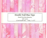 Double Fold Bias Tape - Pink Fossil Fern from Bernartex