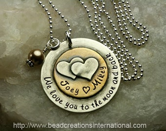 NEW We Love You To The Moon and Back with Two Names w/ Two Small Hearts Stacked on Top Hand Stamped Necklace