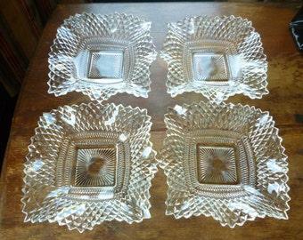 SALE Set of 4 Westmoreland English Hobnail Diamond Pattern Ruffled Candy Dishes