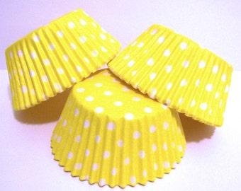 Yellow Polka Dot Cupcake Liners- Choose Set of 50 or 100