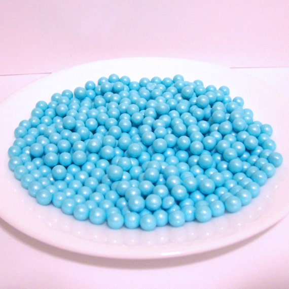 Edible Pearl Powder Blue Sugar Candy Beads for Cake Decorating
