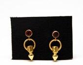 SALE Garnet and Gold Spike Drop Earrings